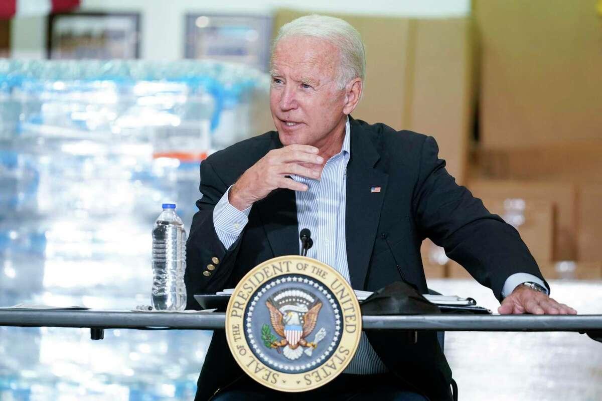 President Joe Biden speaks during a briefing about the impact of Hurricane Ida, Tuesday, Sept. 7, 2021, in Hillsborough Township, N.J.