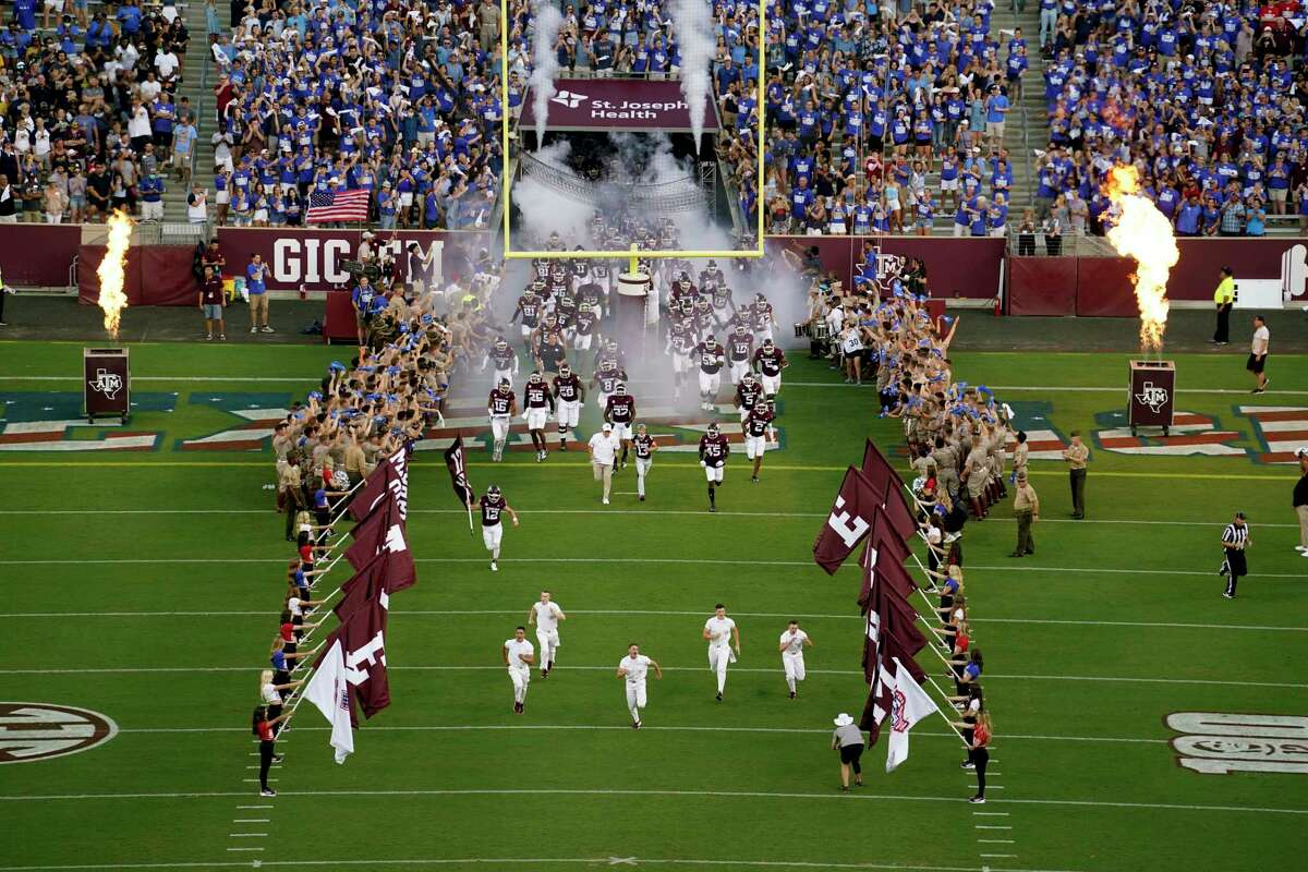Texas A&M takes the field before the start of an NCAA college football game against Kent State on Saturday, Sept. 4, 2021, in College Station, Texas. (AP Photo/Sam Craft)