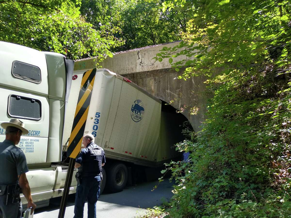 A truck failed to make it through the overpass on Carlton Road in Clifton Park Tuesday afternoon, Sept. 7, 2021.