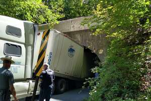 A truck failed to make it through the overpass on Carlton Road in Clifton Park Tuesday afternoon.
