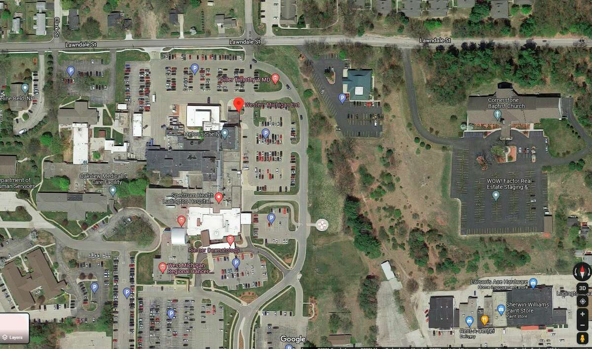 A screenshot from Google Maps shows the current location of Western Michigan ENT at7 Atkinson Drive, Suite 305 in the Medical Office Building at Spectrum Health Ludington Hospital in Ludington. The Western Michigan ENT will be moving to a new location down the road at250 N. Nelson Road, Suite 1, the site of the former Gentry Medical Building. (Screenshot)
