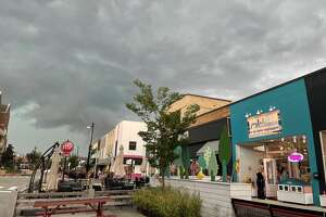 Storm clouds loom over downtown Midland before a thunderstorm led to a tornado warning and severe thunderstorm warning on Tuesday, Sept. 7, 2021.