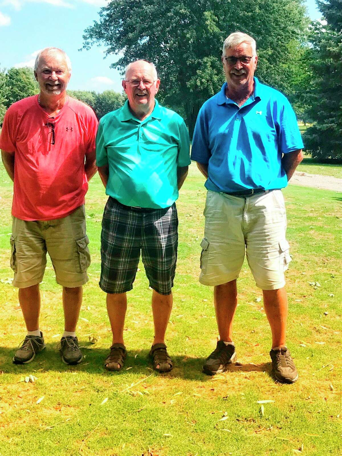 First flight winners. First place Con Vigenski, tied for second place Alan Iseler and Al Wichert. (Courtesy Photo)