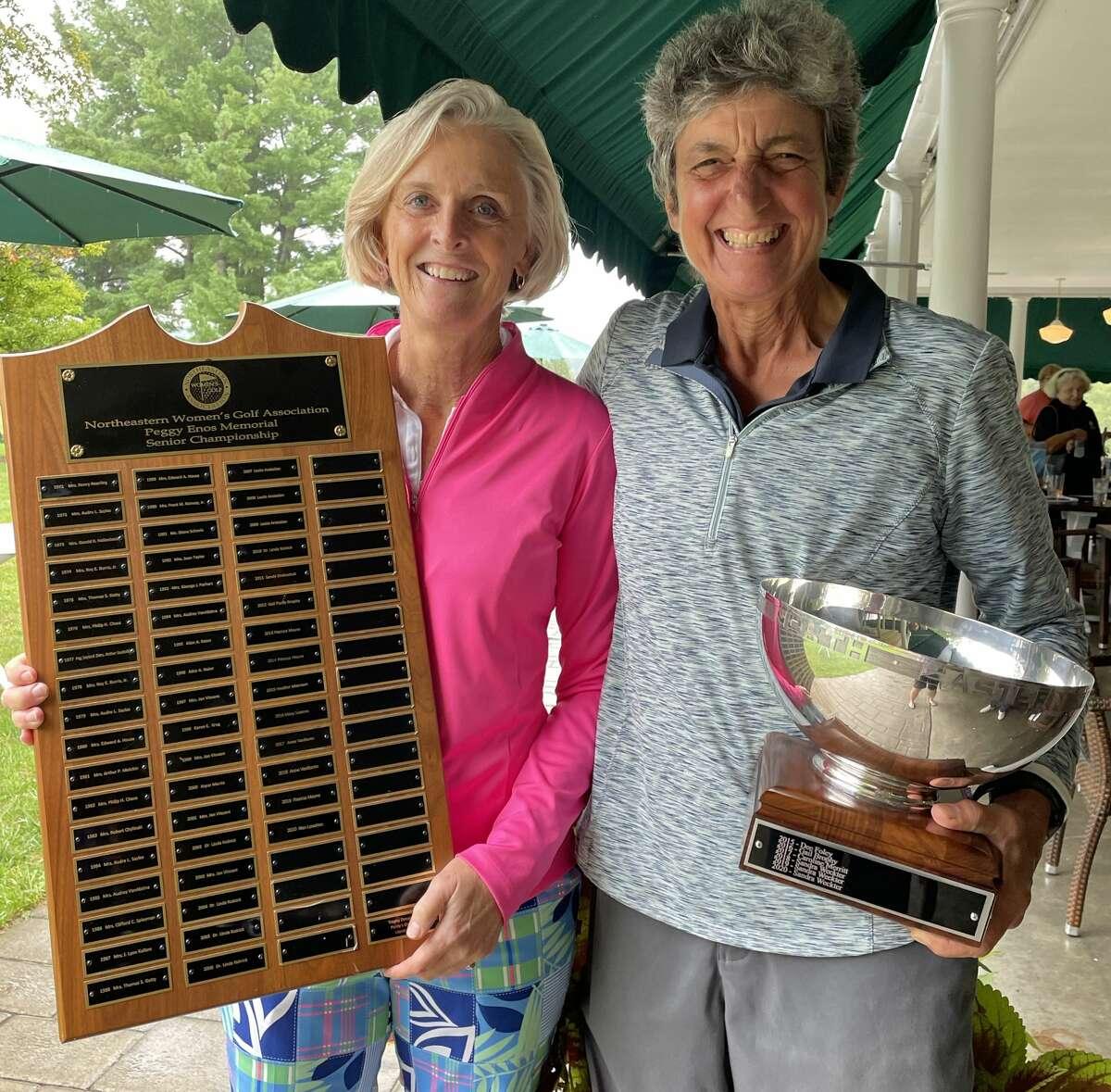 Northeastern Women's Golf Association winners Susan Kahler of Ballston Spa and Linda Kolnick of Canajoharie. Kahler won the Peggy Enos senior championship and Kolnick won the uper senior champion Louise Starzenski Cup on Wednesday, Sept. 1, 2021.