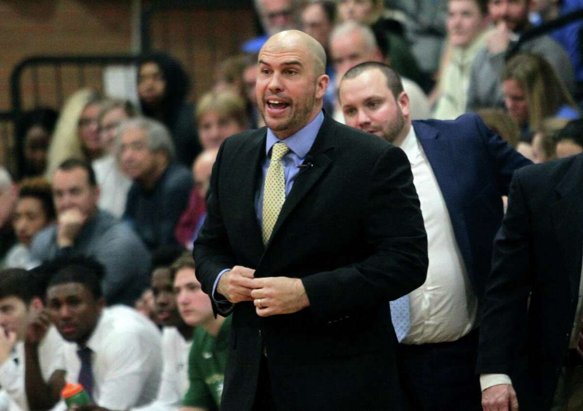 Notre Dame-West Haven coach Jason Shea during action against Hamden in 2019.