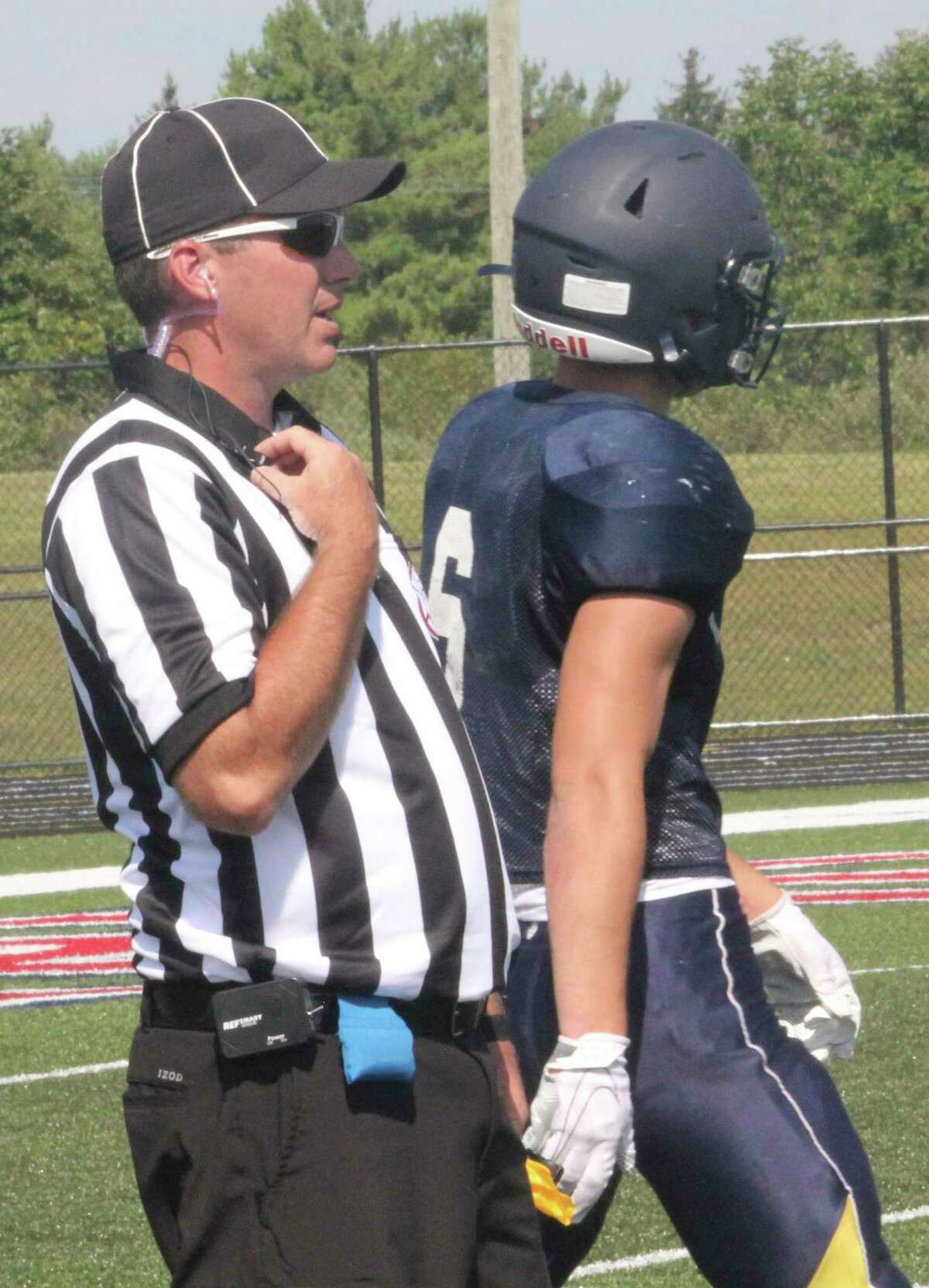 A football official gets ready to work at a Big Rapids scrimmage earlier this season. (Pioneer photo/John Raffel)