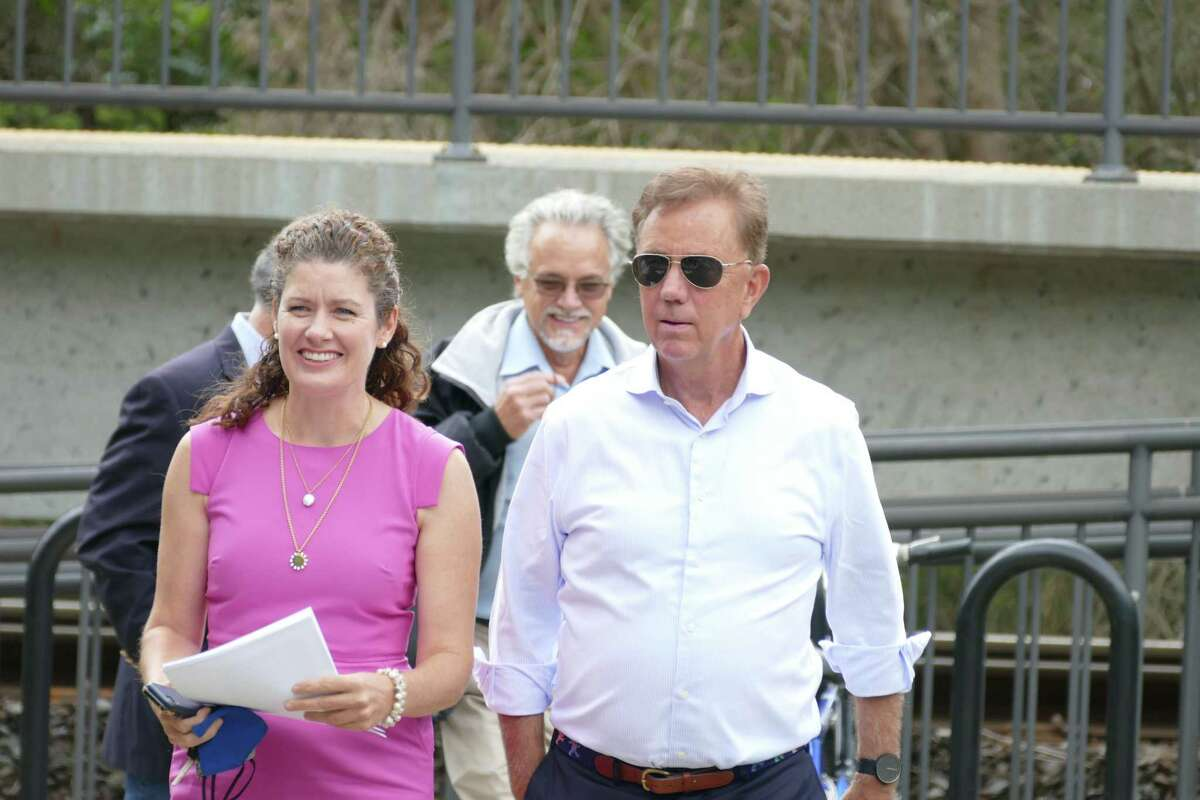 Gov. Ned Lamont, with Commissioner Katie Dykes of the Department of Energy and Environmental Protection