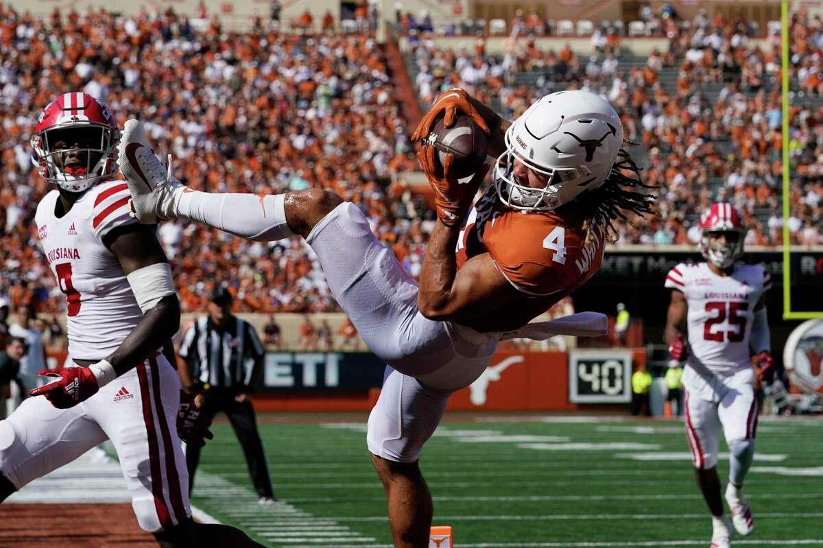 Texas wide receiver Jordan Whittington (4) during an NCAA college football game against the Louisiana-Lafayette, Tuesday, Sept. 7, 2021, in Austin, Texas. (AP Photo/Eric Gay)