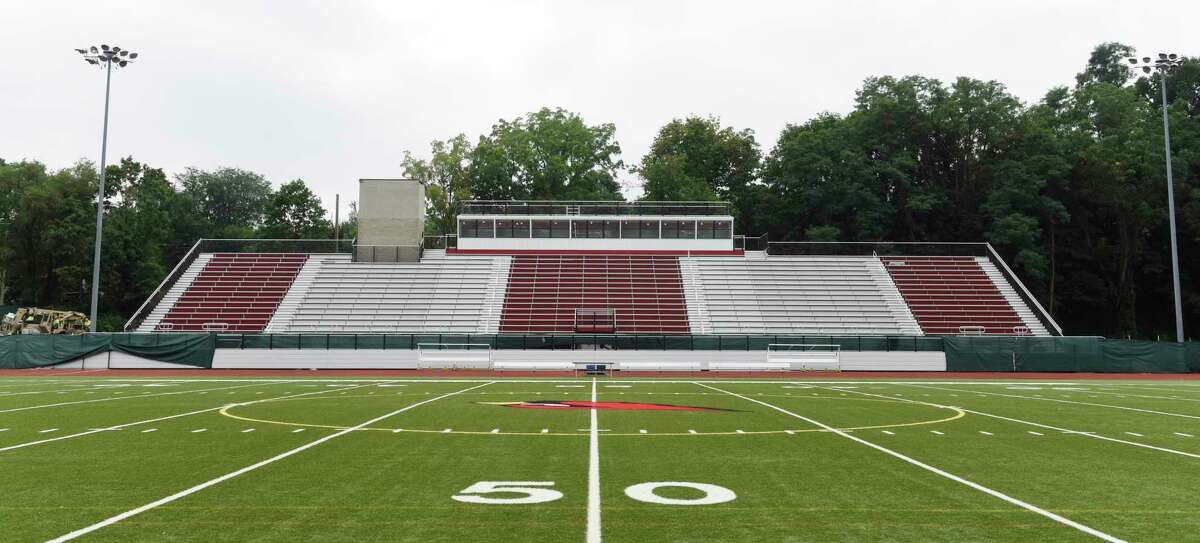 Construction continues on the Cardinal Stadium bleachers at Greenwich High School in Greenwich on Aug. 30.