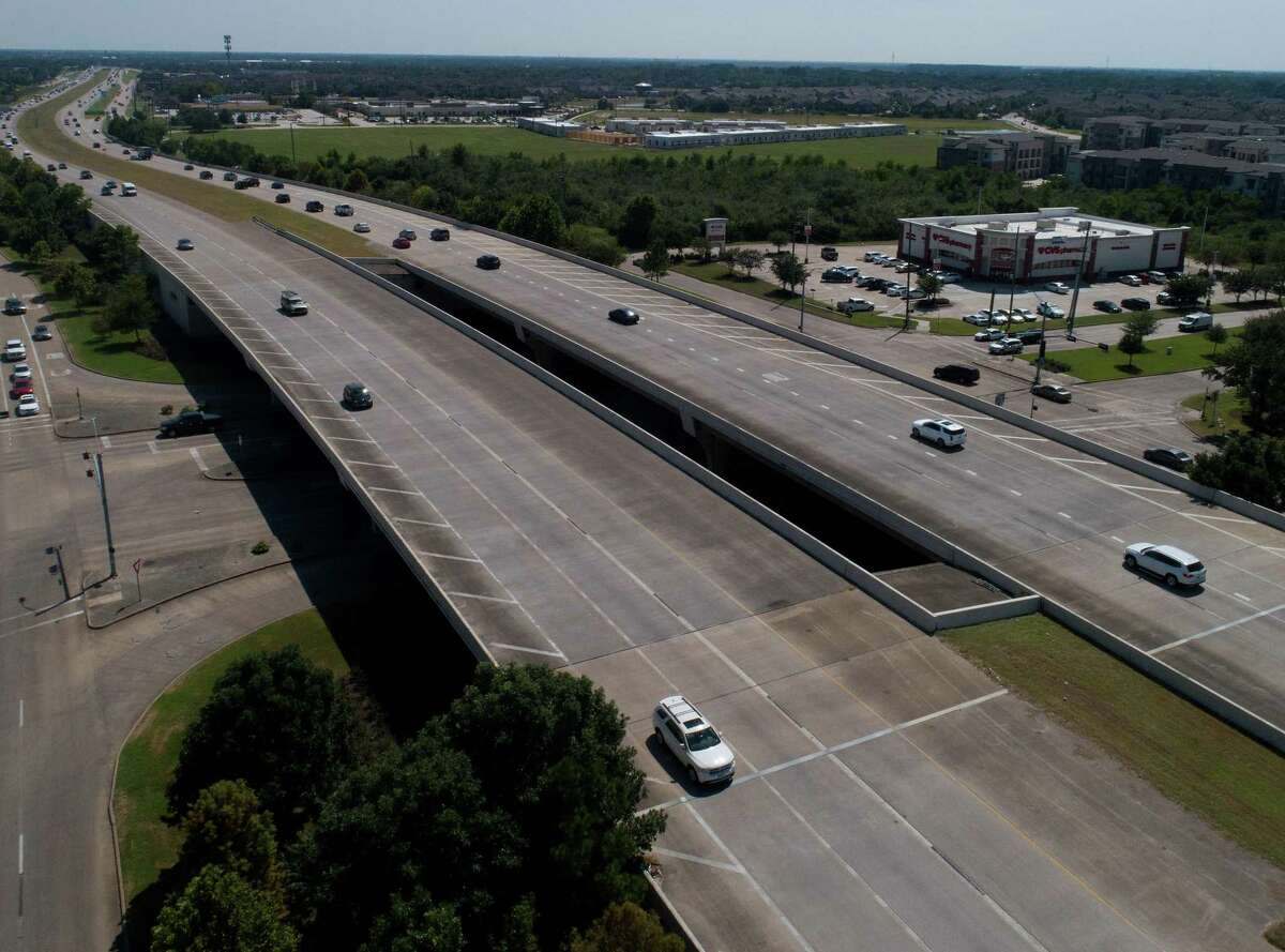 Aerial view of Texas 99 between Westpark Tollway and I-10 in Katy on Tuesday, Sept. 7, 2021. The stretch that isn't a toll road is managed by TxDot, who is planning a project to expand Texas 99 adding an additional lane in each direction.