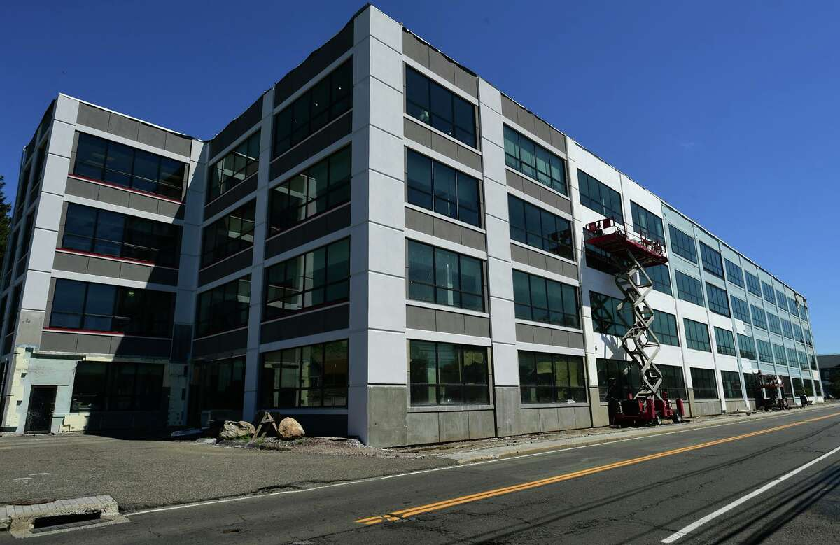 The renovated office building at 25 Van Zant Street Wednesday, May 12, 2021, in Norwalk, Conn. The owner of the old Crofut & Knapp Hat Factory wants to transform the 250,000 square foot building into a new vocational school.