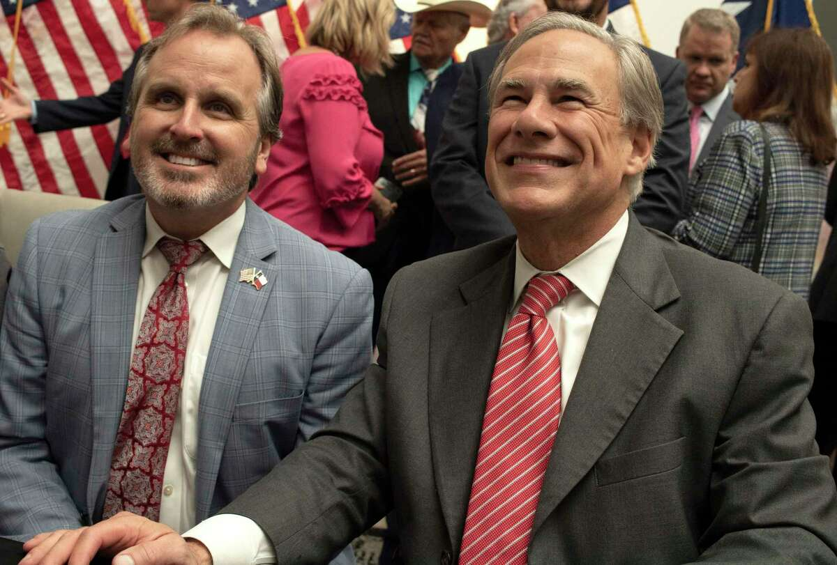 Texas Governor Greg Abbott ceremonially signs into law Senate Bill 1 during an event in Tyler, TX on Tuesday, Sept. 7, 2021. The bill prohibits several forms of voting that were used in Harris County during the 2020 election including drive-through voting and 24 hour voting.