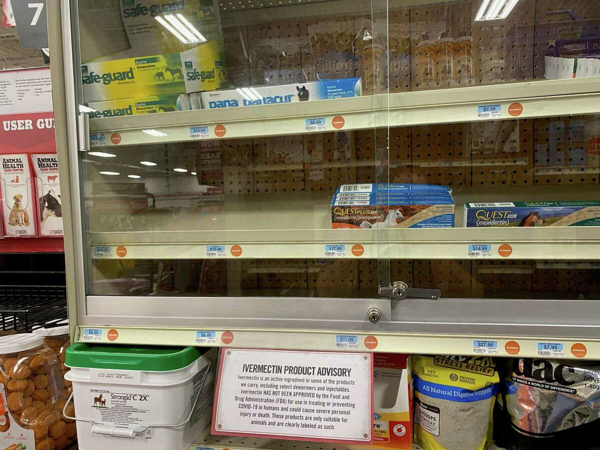 Shelves at the Tractor Supply store, normally stocked with livestock medicine containing ivermectin, were mostly bare on Aug. 26.