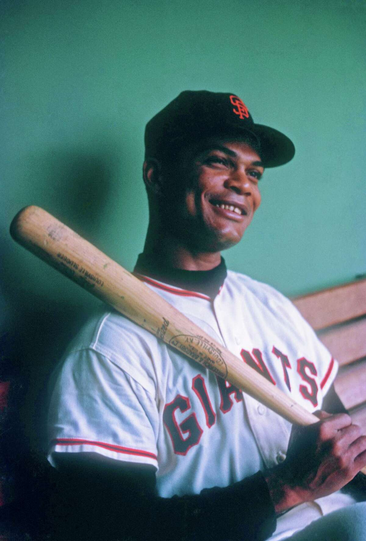 SAN FRANCISCO, CA - 1960: Felipe Alou #23 of the San Francisco Giants poses for a portrait while sitting in the dugout before an MLB game circa 1960 at Candlestick Park in San Francisco, California. (Photo by Hy Peskin/Getty Images)