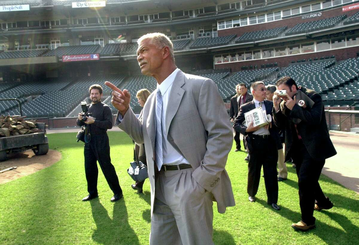 ALOUc-C-15NOV02-SP-CKH CHRISTINA KOCI HERNANDEZ/CHRONICLE Alou looks at Pacific Bell Park field after his press conference. Felipe Alou, new manager for the Giants, is introduced to media.