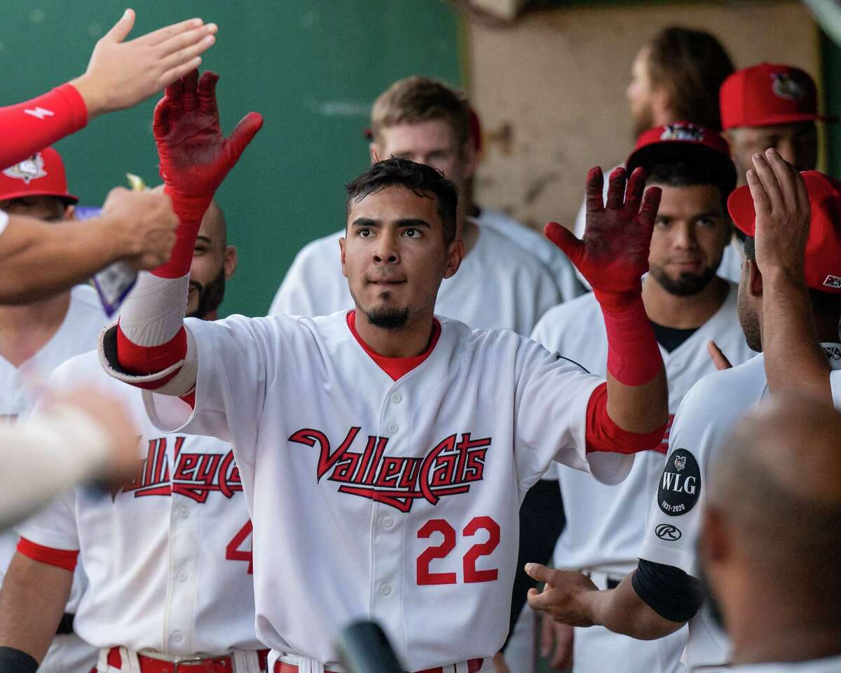 Tri-City ValleyCats shortstop Nelson Molina is congratulated after hitting a leadoff home run against the Sussex County Miners at the Joseph L. Bruno Stadium on the Hudson Valley Community College in Troy, NY, on Tuesday. Sept. 7, 2021. (Jim Franco/Special to the Times Union)