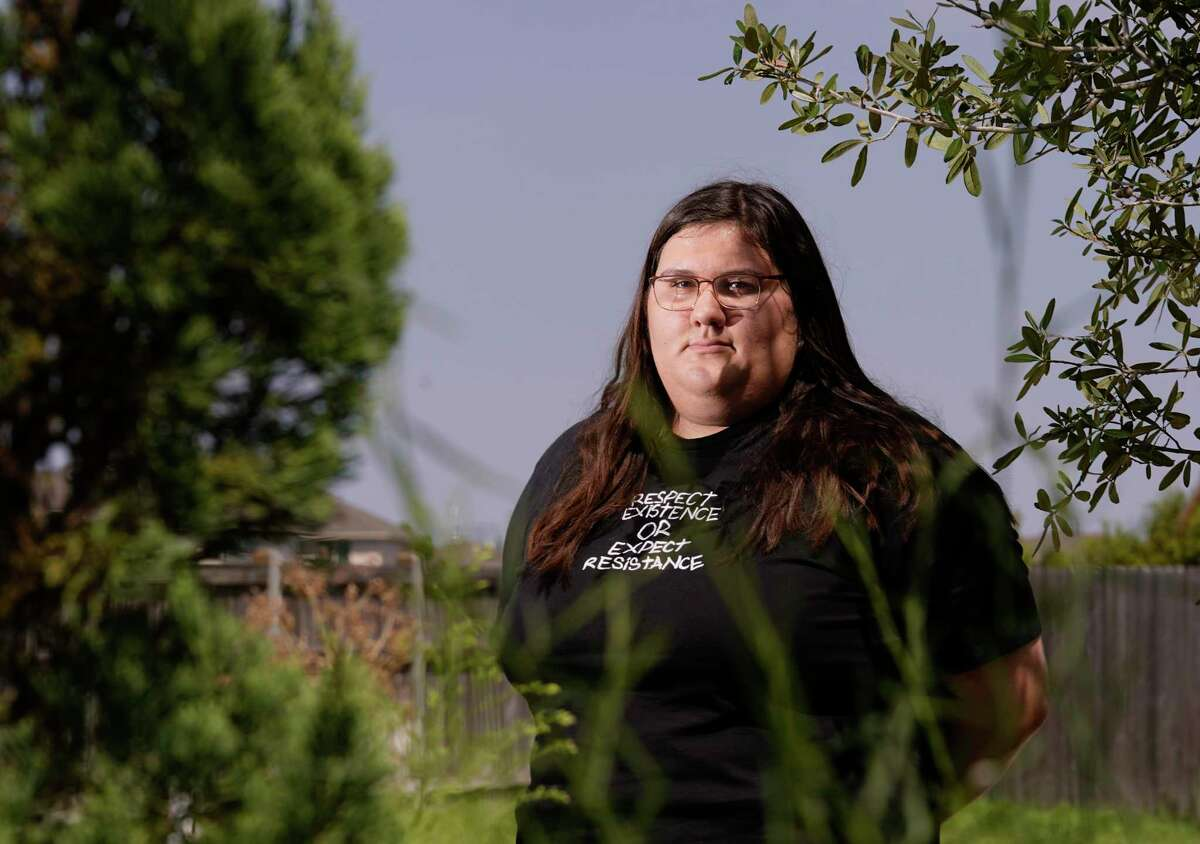 """Olivia Julianna, an 18-year-old from Sugar Land, is shown Sunday, Sept. 5, 2021 in Houston. She was one of the TikTokers who hatched a plan to sabotage a pro-life group's """"whistleblower"""" website by encouraging her peers to flood the website with fake complaints. """"We grew up on Divergent and Hunger Games and all these things,"""" Julianna said, referring to the dystopian books and movies. """"They taught us to fight for what we believe in. To stand up for what we think is right. So now we're doing that."""""""