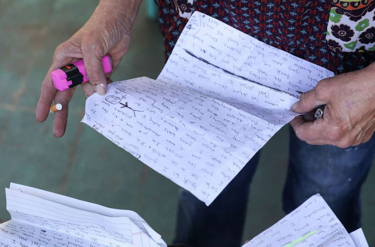 Elizabeth Waller re-reads letters written by her son, Stetson Hoskins, while he was in jail in 2019. Though the letters are rambling and, at times, incoherent, Elizabeth often revisits the letters to feel close to her middle son.