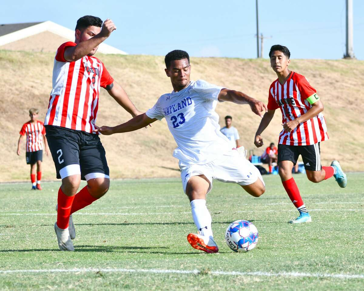 Wayland Baptist's Bryan Alfaro scores one of his three goals in the Pioneers' 14-0 win over Bacone on Tuesday at Hilliard Field. The Pioneers broke a program record for goals in a game in the victory.