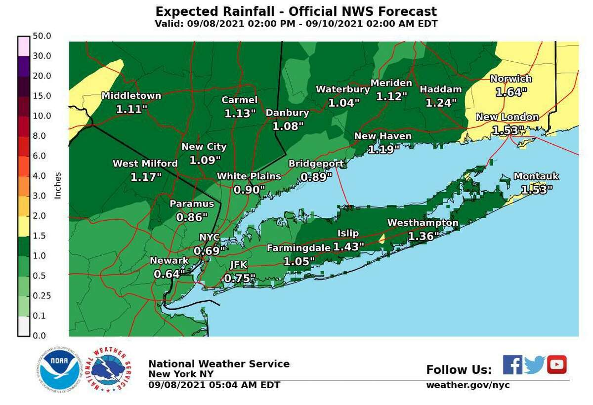 Rain showers and thunderstorms are expected to move through the region late Wednesday, Sept. 8, 2021, into Thursday, Sept. 9, bringing a threat of possible flash flooding.
