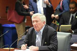 New Canaan First Selectman Kevin Moynihan asks the Connecticut General Assembly's transportation committee to invest in the New Canaan Branch train line on Monday, February, 24, 2020.