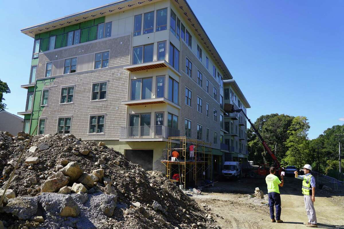Tenants are expected to move into the first of two contemporary four-story affordable housing buildings in New Canaan near the end of September. Picture was taken Sept. 7, 2021.