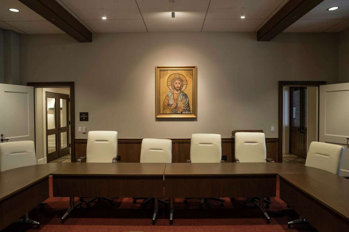 Participation in organized religion is at an all-time low. Less than half of Americans belong to a religious group. A mosaic of Jesus is shown in the vestry conference room at St. Martin's Episcopal Church is shown Thursday, Aug. 19, 2021 in Houston.
