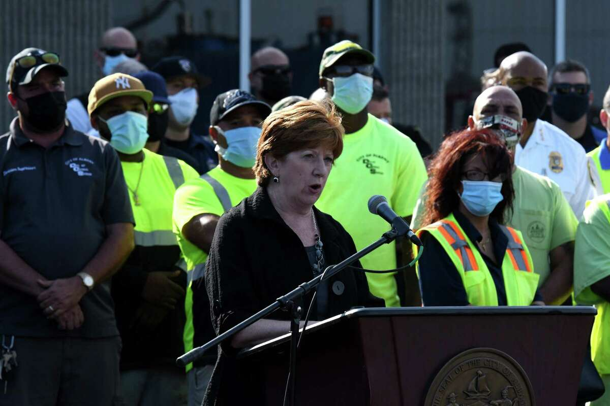 Albany Mayor Kathy Sheehan announces bonuses and raises for city workers from the Albany's allocation of its $80.7 million in American Rescue Plan funding on Sept. 8.