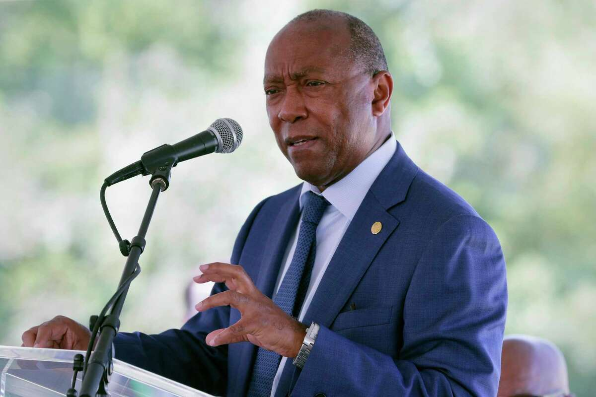 """Houston Mayor Sylvester Turner speaks during a press conference last month. Turner said Wednesday he plans to present new information next week that will """"help explain"""" explosive allegations made by the former housing director that the mayor steered affordable housing money to a select developer."""