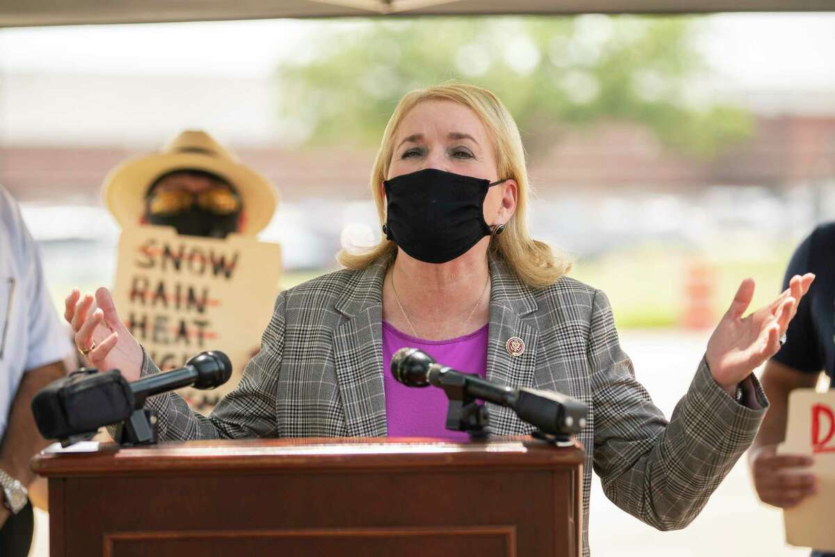 Congresswoman Sylvia Garcia speaks in front of the United States Postal Service distribution center on Aldine Bender Road on Tuesday, Aug. 18, 2020, in Houston. There have been ongoing concerns about delays there.