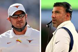 Tom Herman (left) and Mike Vrabel were on the Ohio State coaching staff together for two seasons under Urban Meyer.