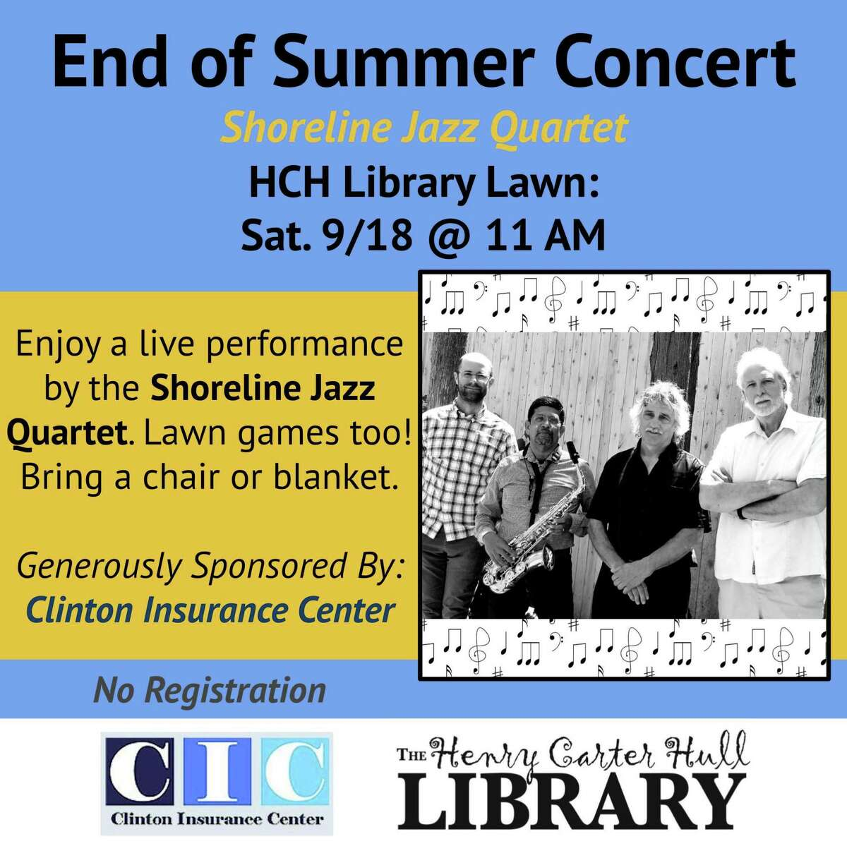 The Shoreline Jazz Quartet will be performing Sept. 18 at the Henry Carter Hull Library in Clinton.