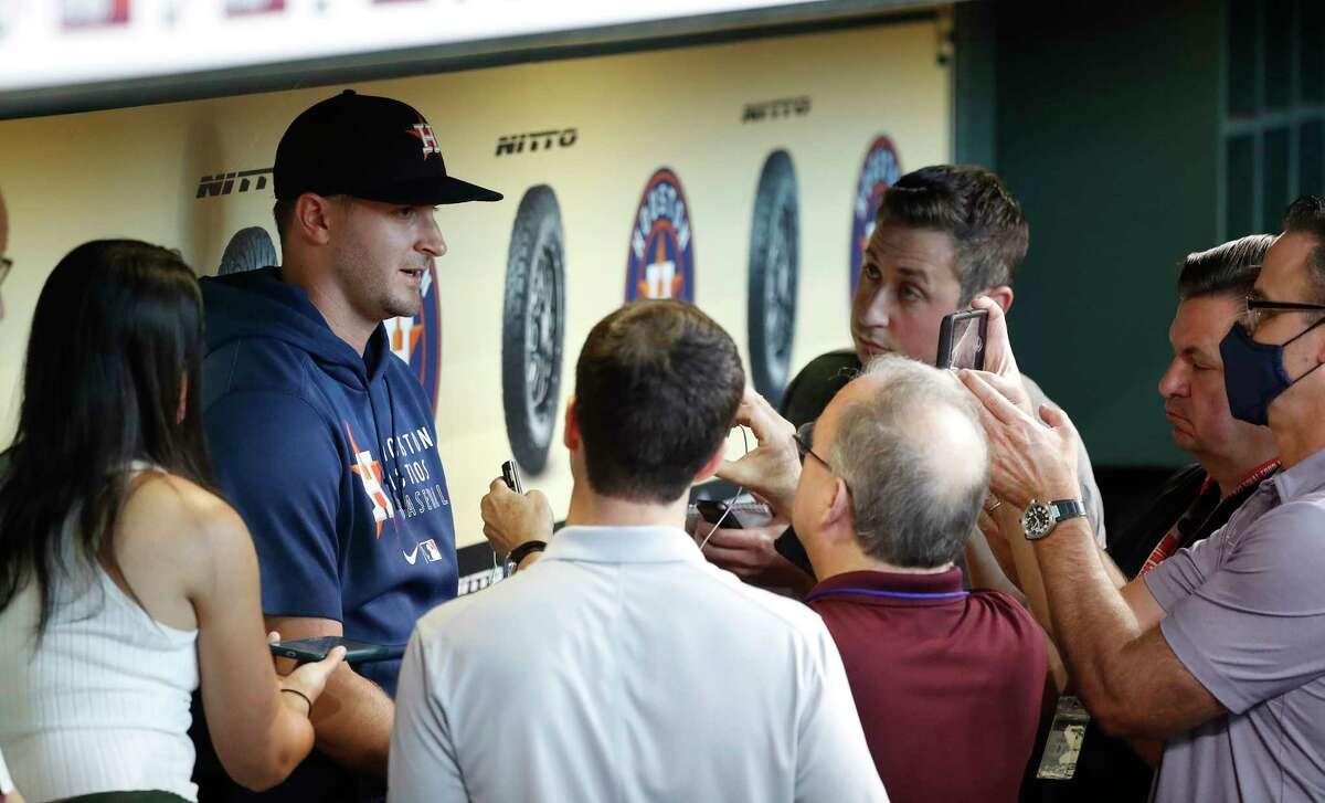 Houston Astros pitcher Jake Odorizzi speaks to the media before the start of an MLB baseball game at Minute Maid Park, Wednesday, September 8, 2021, in Houston.