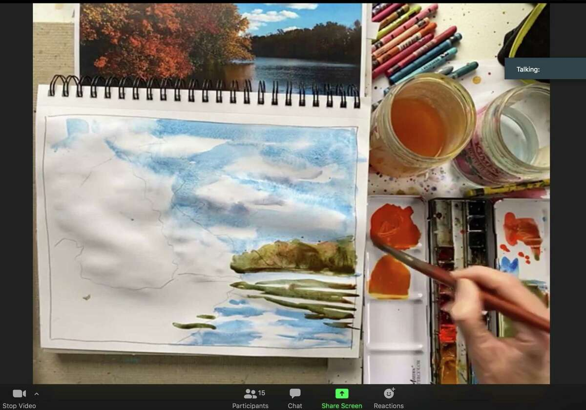 The Guilford Art League promotes visual artists and members' work. Shown is a painting in process at the Guilford Art Center.