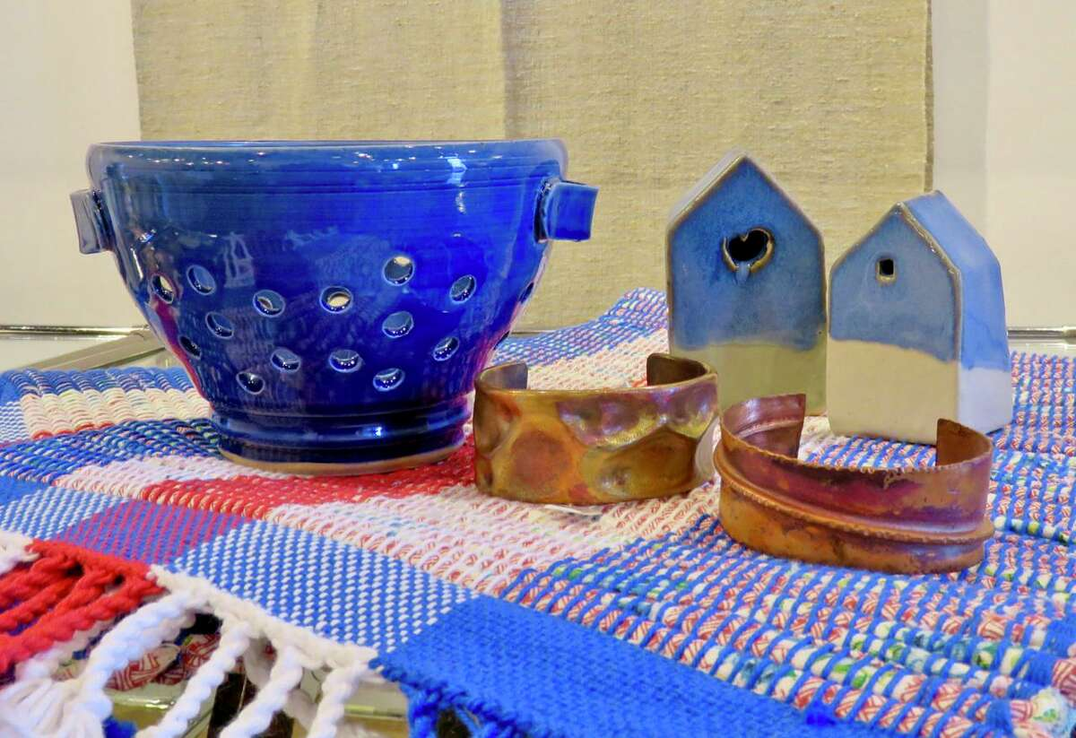 A sampling of items from a past Wesleyan Potters spring sale is shown.