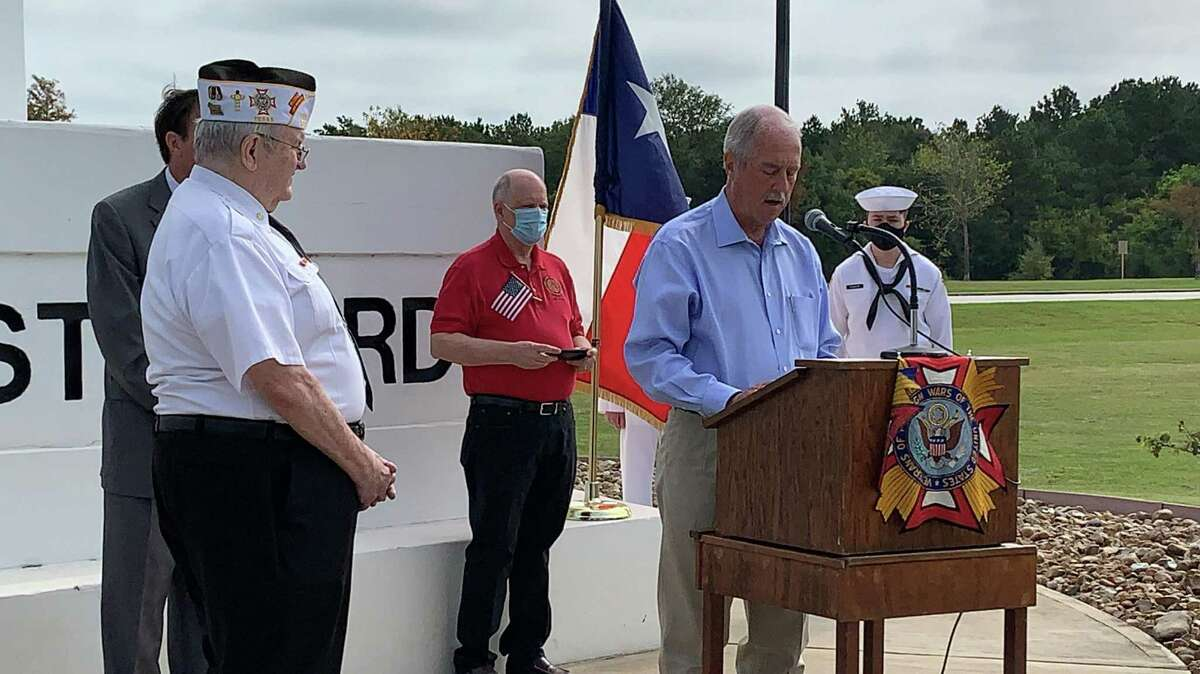 Katy Mayor Bill Hastings speaks during a Patriot Day commemoration on Sept. 11, 2020, at the Armed Forces Memorial at Freedom Park in Katy.