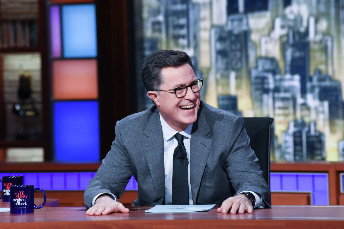"""Stephen Colbert, pictured during a 2019 episode of """"The Late Show."""""""