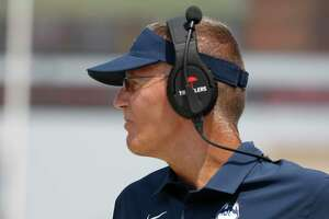 Ex-Connecticut coach Randy Edsall coaching against Fresno State on Aug. 28.