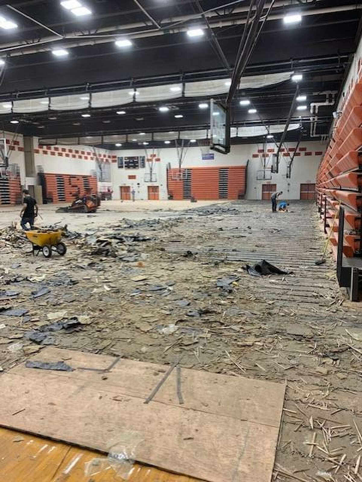 The Shelton High gym floor, damaged after an accident in April, is being removed this week. The floor will be replaced with new wood. The gym is closed during the work, and there is no timetable for completion.