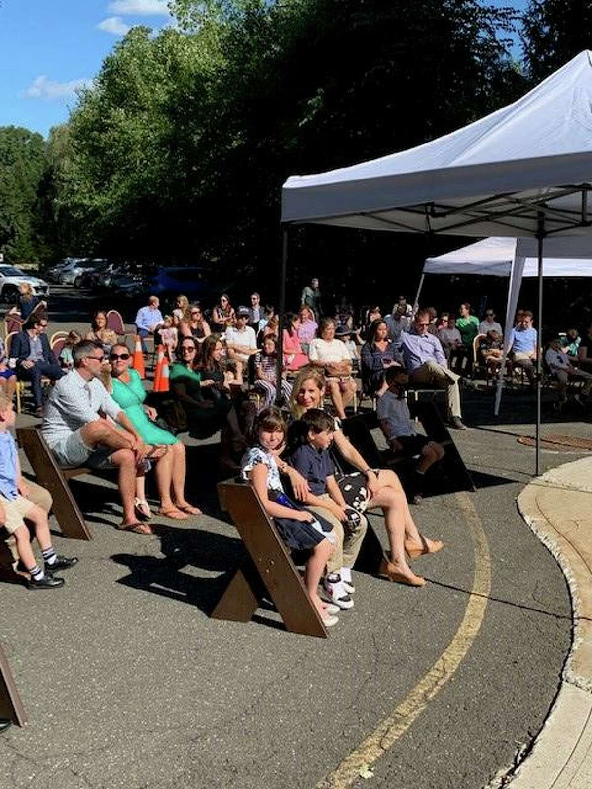 Families gather at Congregation Shir Shalom of Westchester and Fairfield Counties in Ridgefield on on Tuesday for outdoor services for Rosh Hashana.