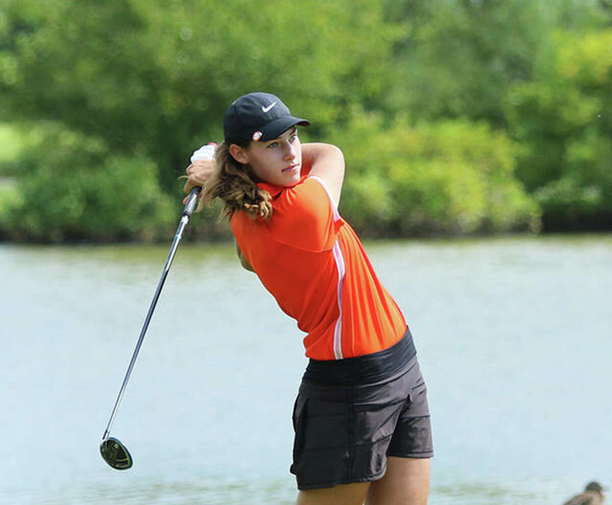 Edwardsville's Nicole Johnson, shown in a tourney last season, shot 73 on Tuesday to earn medalist and lead the Tigers to the championship of the O'Fallon Invite at Tamarack golf course in Shiloh.