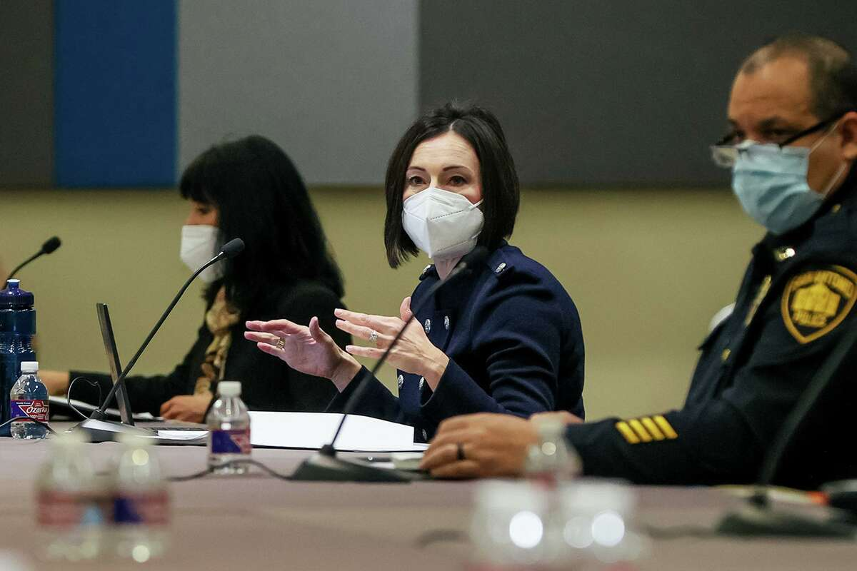 First Assistant City Attorney Liz Provencio speaks as negotiators with the City of San Antonio and the San Antonio Police Officers Association hold their first negotiations for a new police contract at the Convention Center on Feb. 12, 2021.
