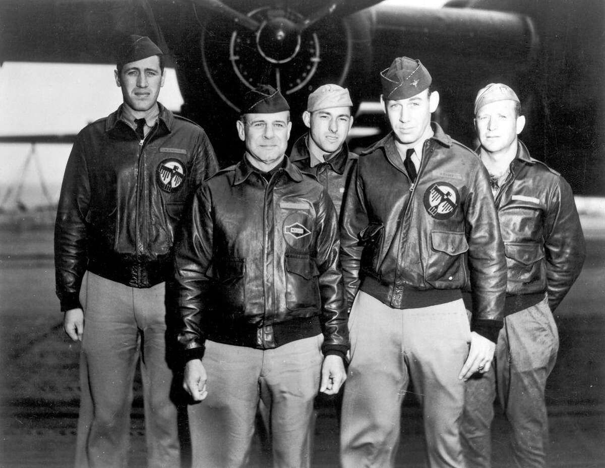"""Then-Lt. Richard """"Dick"""" Cole, second from right, was co-pilot in Crew 1 of the Doolittle raid on Tokyo, which was piloted by raid planner Jimmy Doolittle, second from left, on April 18, 1942."""