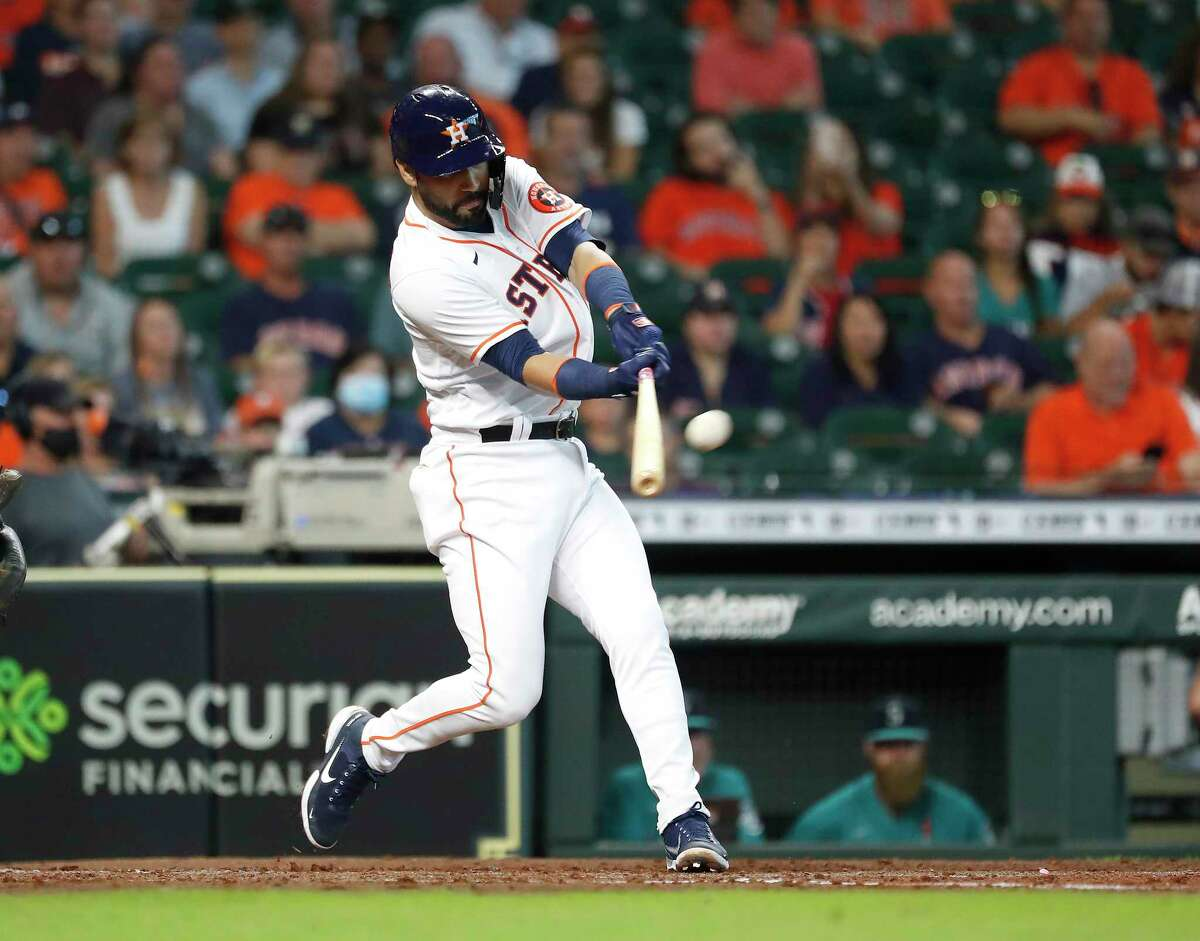 Houston Astros Marwin Gonzalez (9) hits a two-run home run off Seattle Mariners starting pitcher Tyler Anderson (31) during the second inning of an MLB baseball game at Minute Maid Park, Wednesday, September 8, 2021, in Houston.