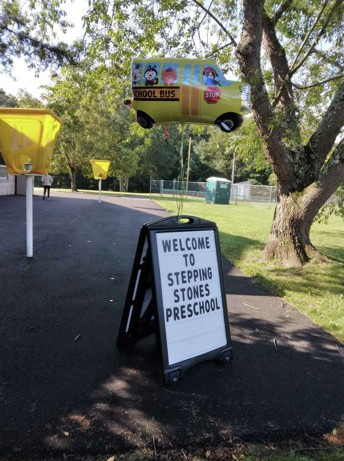 A sign outside Stepping Stones Preschool in Westport welcomes families for the first day of school, Sept. 8, 2021.