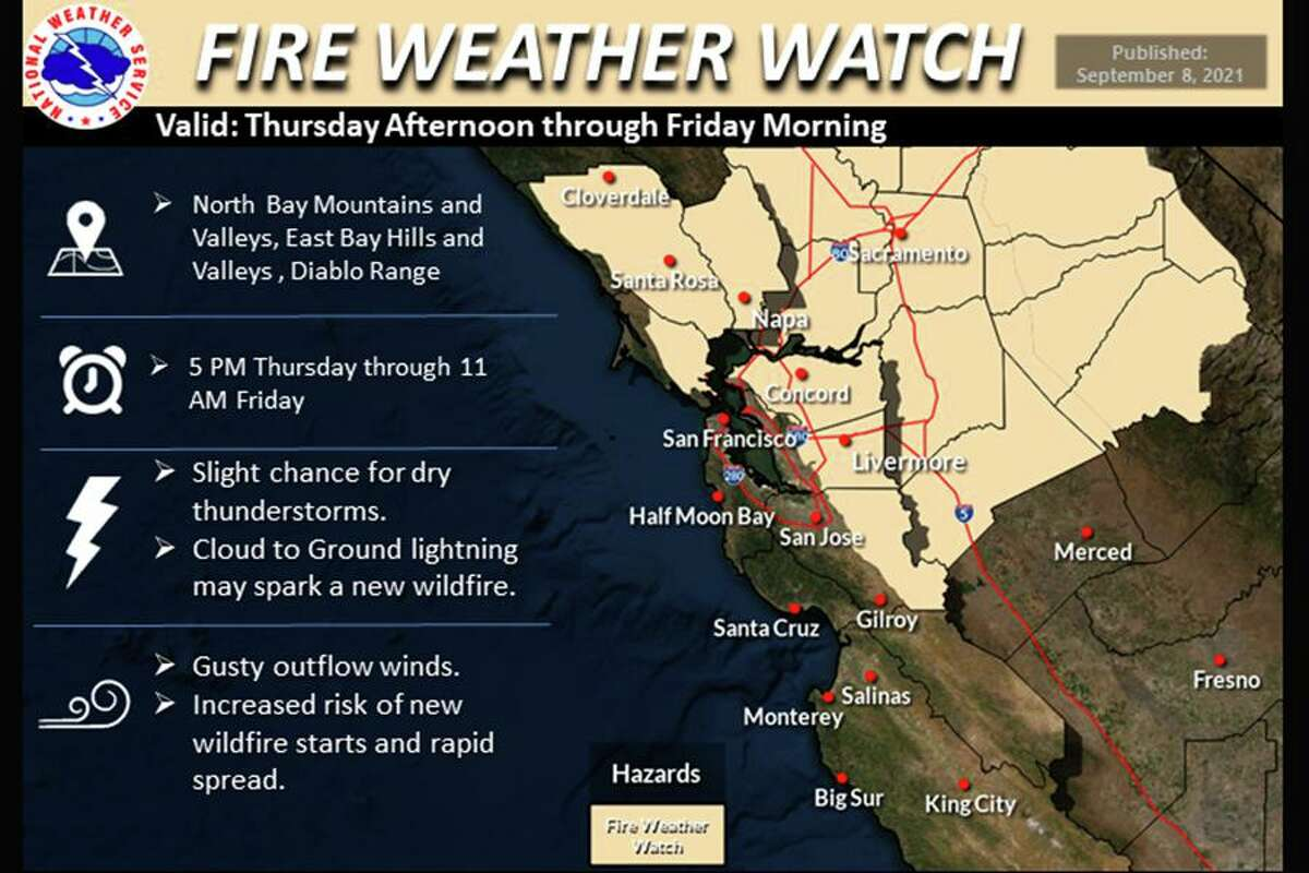 The National Weather Service on Wednesday issued a fire weather watch for interior Northern California, including parts of the Bay Area, from Thursday afternoon through Friday morning.