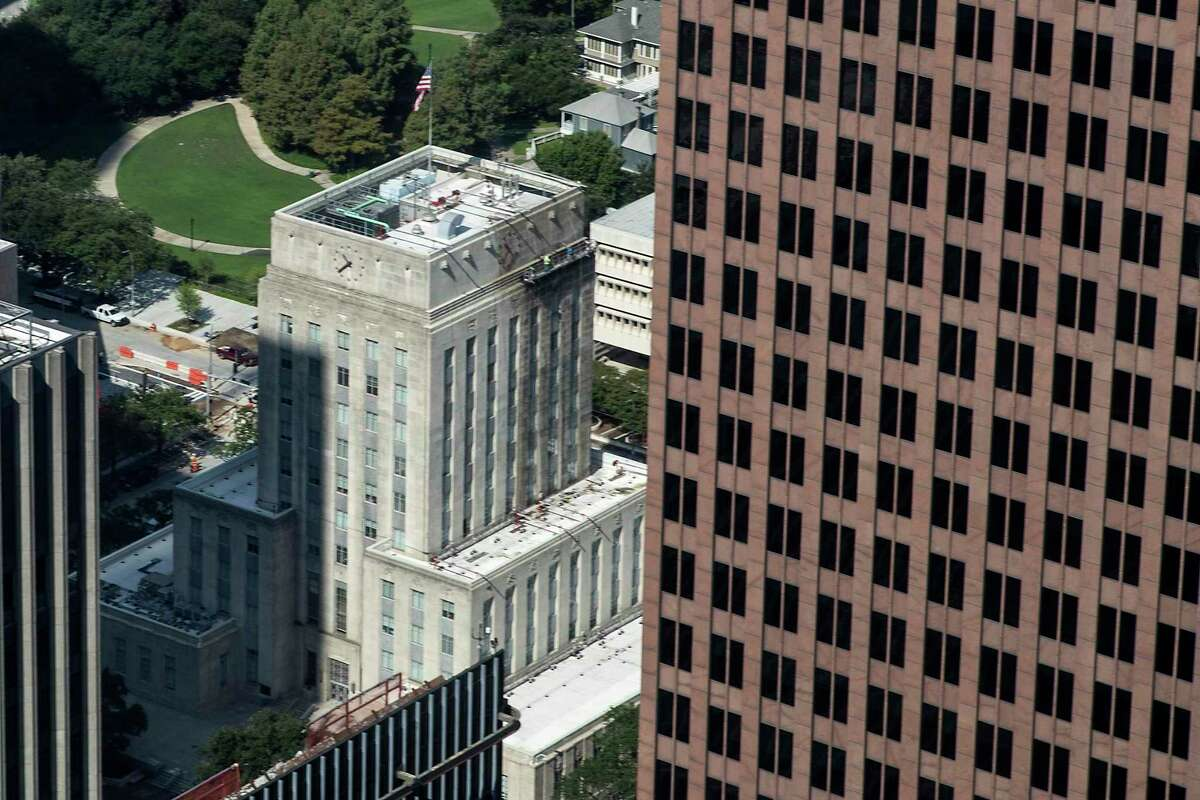 City Hall, shown Tuesday from the Chase Tower observation floor. City leaders proposed cutting their property tax rate on Wednesday, a move made necessary by a revenue cap approved by voters in 2004.