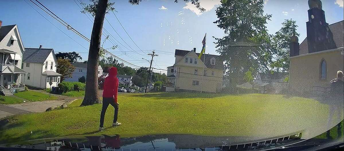 Video footage captured the moment police say a woman was attacked outside a church in Bridgeport, Conn., on Tuesday, Sept. 8, 2021.