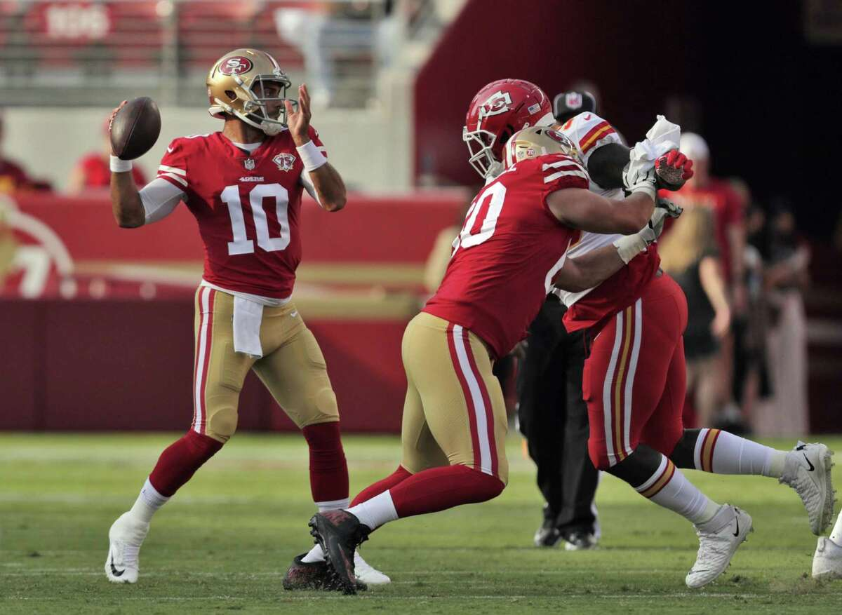 Jimmy Garoppolo (10) throws downfield in the first half as the San Francisco 49ers played the Kansas City Chiefs at Levi's Stadium in Santa Clara, Calif., on Saturday, August 14, 2021.