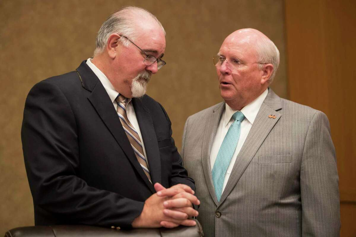 County Commissioners Jacl Cagle, left and Tom Ramsey during Harris County Commissioners Court Tuesday, July 20, 2021 in Houston.